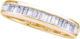 14kt Yellow Gold Womens Baguette Diamond Wedding Anniversary Band Ring 1/6 Cttw In Channel Setting (I2-I3 clarity; H-I color)