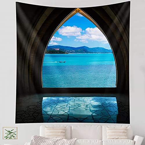 Tapiz Decoración de Arte de Pared Tapiz Azul con Vista al mar Tapiz de Mandala Indio Tapiz Colgante de Pared Estilo Bohemio Dormitorio Alfombra de Pared sofá Manta Decor Regalo tapices
