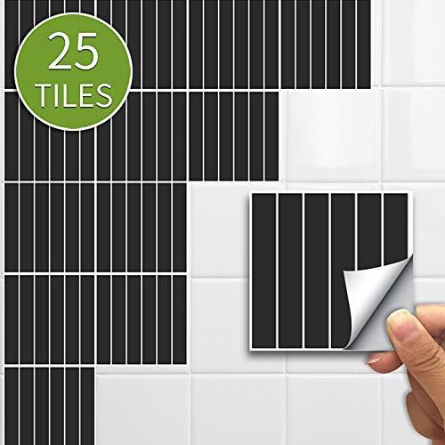 10/15 cm x 25 pegatinas de mosaico para el hogar, pegatinas de pared, pegatinas impermeables para azulejos de cocina y baño (color: azulejos de tira negra, tamaño: 15 x 15 cm, 50 piezas de 1 m²)