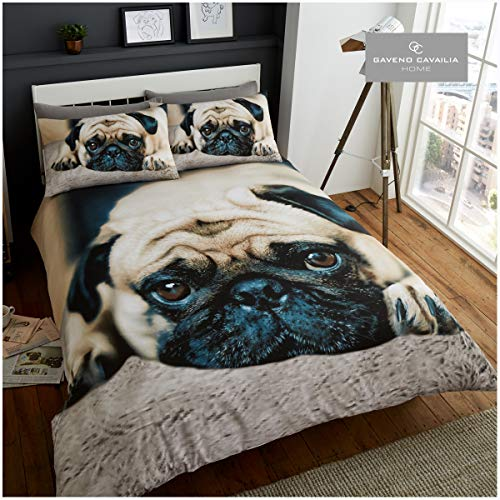 Gaveno Cavailia WILDLIFE 3D SWEET PUG Bed Set with Duvet Cover and Pillow Case, Polyester-Cotton, Multi, Double