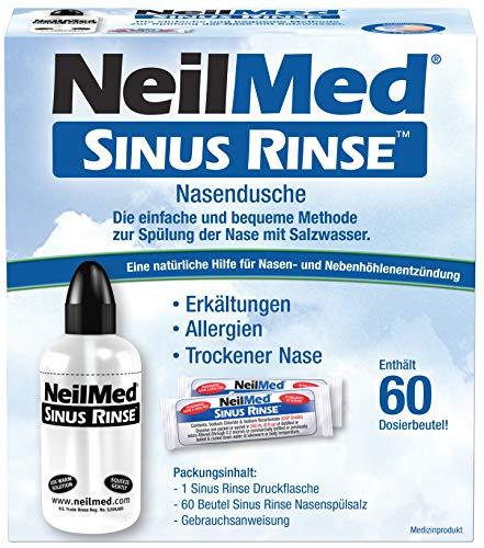 NeilMed Nasendusche hilft bei Erkältungen, verstopfter Nase, Allergien mit 60 Portionen Nasenspülsalz