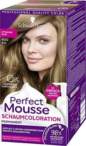 Schwarzkopf Perfect Mousse Permanente Schaumcoloration, hochwertige Haarfarbe 800 Mittelblond Stufe 3, 3er Pack (3 x 92,5 ml)