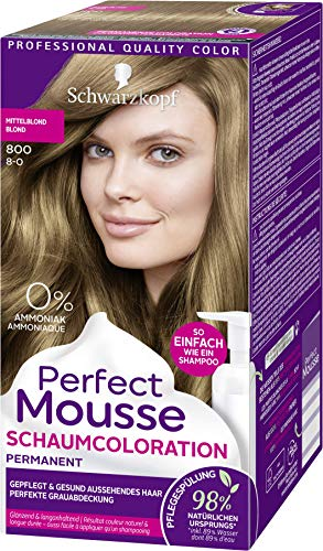 SCHWARZKOPF PERFECT MOUSSE Permanente Schaumcoloration 800 Mittelblond Stufe 3, 3er Pack (3 x 92,5 ml)