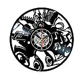 LMZJLU Musique Jazz Rock Musicien Instruments Notes De Guitare Disque Vinyle Horloge Murale Cadeau