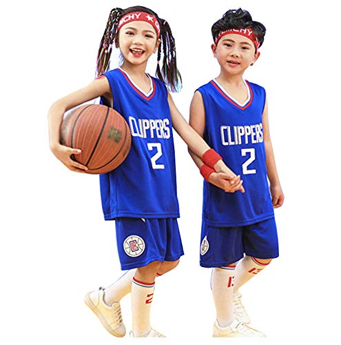 Clippers Leonard # 2 Basketball Trikot für Jungen Mädchen, Top und Shorts 2-teiliges Set Unisex Jugend ärmellose Sport Tops T-Shirt Sportswear-Blue-M