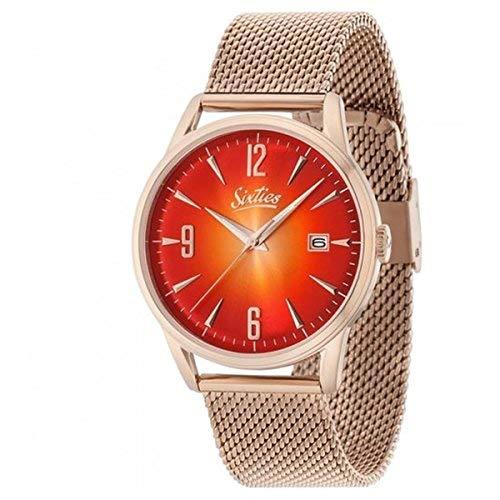 Sixties Rainbow Armbanduhr Unisex – Quarz Klassische Herrenuhr und Damenuhr analog und wasserdicht mit Edelstahlarmband Exklusiver 60er Jahre Stil für Modebewusste