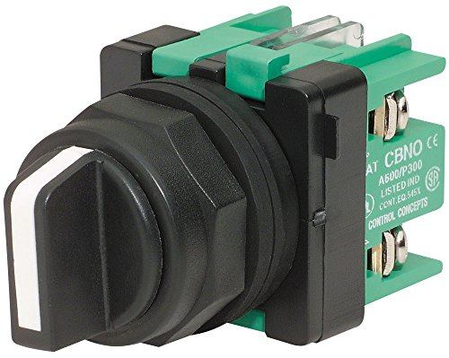 c3controls SSO3-SHWE-NO/NO Non-Illuminated Selector Switch, 30mm, 3-Position Maintained, Black Polyester (Type 4X) Clamp Ring, Black Standard Handle w/White Insert, 1 NO (left side) & 1NO (right side)