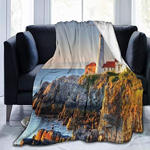 AEMAPE Manta de Lana, Hermoso Faro, Arte costero, Manta de Color, Manta cálida, Manta Suave para sofá de Oficina y hogar