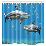 Shocur 3D Shark Shower Curtain, Blue Fantasy Underwater World, Cute Kids Cartoon Tropical Fish, 72 x 72 Inches Ocean Theme Bath Curtain, Polyester Fabric Bathroom Decor Set with 12 Hooks