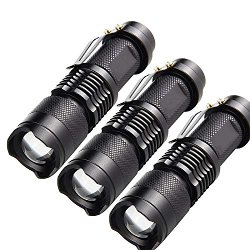 Linterna LED,Linternas Potentes linternas LED portátiles lámparas de Camping 3 Modos zoomable antorcha linternas de luz autodefensa 3pcsblack