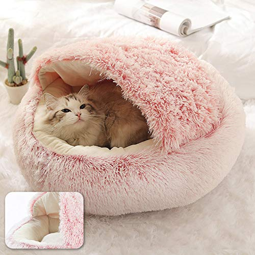 Dog Pillow  Winter Cat Bed Round Plush Warm Soft Pet Bed for Cat Soft Long Plush Mat for Small Dogs Puppy Sleeping Bag Cats Nest-Pink-Diameter 50cm