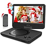 WONNIE 11-inch children's DVD player for cars with 9-inch swivel screen, rechargeable battery, remote control, USB / SD card reader, Region Free (black)