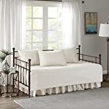 Comfort Spaces CS13-0544 Kienna Soft Microfiber Solid Blush Stitched Pattern 5 Piece Quilt Daybed Bedding Sets, 75'x39', Ivory