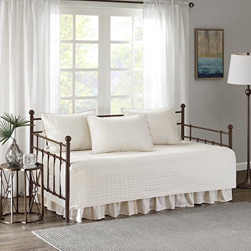 Comfort Spaces Kienna Soft Microfiber Solid Blush Stitched Pattern 5 Piece Quilt Daybed Bedding Sets, 75'x39', Ivory