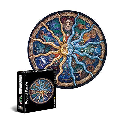 Puzzle Redondo 1000 Piezas,Puzzle 1000 Piezas,Puzzle Circular,Rompecabezas Redondo,Puzzles para Adultos Educa,Puzzle Adultos 1000 Piezas,Redondo Puzzle (C)
