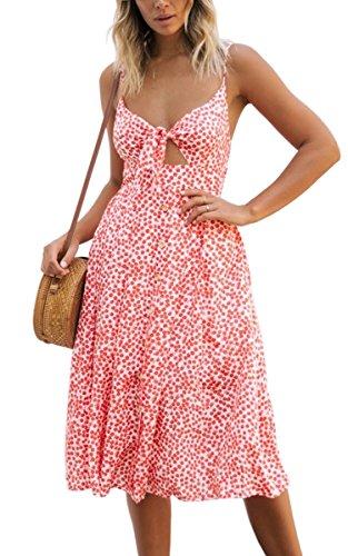 ECOWISH Damen V Ausschnitt A-Linie Kleid Träger Rückenfreies Kleider Sommerkleider Strandkleider Knielang Rosa_Blumen XL