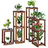 TOOCA Wood Plant Stand Indoor, 4-Piece-Set 16'/27'/35'/38' Flexible Combination Tall Plant Flower Pot Stands, Outdoor Corner Plant Stand, Vertical Plant Shelf Indoor for Living Room/Balcony Garden