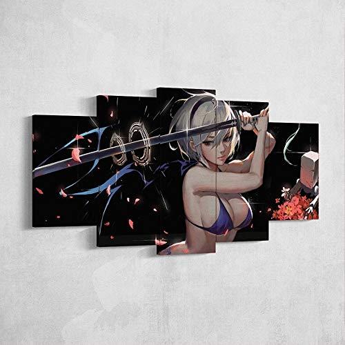 YOPLLL Lienzo 5 Piezas Moderno Cuadro En Lienzo 5 Piezas Salón De Hogardecoracion De Pared Juego De Anime Sexy Bikini Girl Katana(Enmarcado)