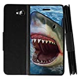 TurtleArmor | Compatible with ZTE Majesty Pro Case | ZTE Majesty Pro Plus Case | Flip Kickstand Leather Wallet Case Cover with Card Slots Sea Ocean - Shark Attack