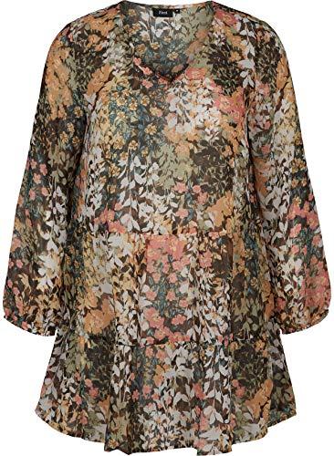 Zizzi Marley Camicia, Multicolore (Mix Flower AOP 9997), 60 (Taglia Unica: XL 54/56) Donna