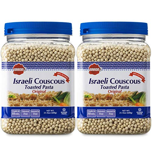 Baron's Original Israeli Couscous Toasted Pasta   100% Natural Pearled Noodles for Salads, Soups & Side Dishes   Cooks in 10 Minutes!   Kosher  2 Pack 21.16oz Jars