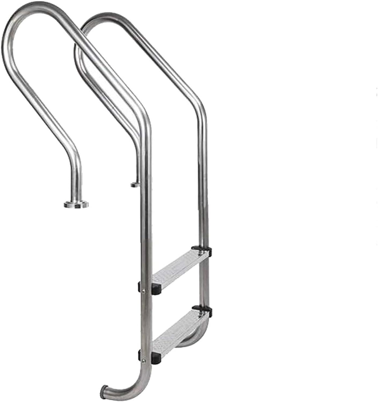 HHXD Escalera de Piscina Acero Inoxidable Pool Escalera de Seguridad Con Peldaños Antideslizantes Para uso Interior y Exterior/Thickness 0.12cm / W50cm*H130cm