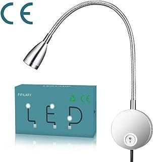 lámpara de lectura,LED con Luz de lectura de pared de cuello de ganso de aluminio para oficina de dormitorio blanco cálido,100-200LM/4000K/3W/110-220V,ángulo de emisión de luz: 30 °,longitud: 28 cm