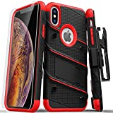 ZIZO Bolt Series for iPhone Xs Max case Military Grade Drop Tested with Tempered Glass Screen Protector, Holster, Kickstand Black RED