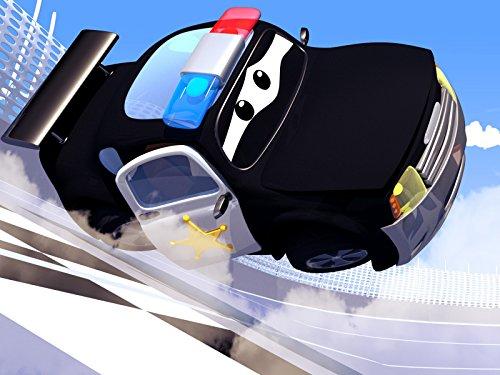 Polizeiauto und Tom der Abschleppwagen