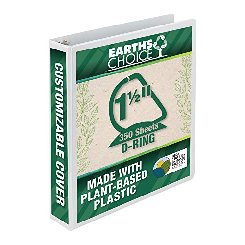 Samsill Earth's Choice Biobased 3 Ring View Binder, 1.5 Inch D-Ring, Up to 25% Plant Based Plastic, USDA Certified Biobased, Eco-Friendly, Customizable Cover, White