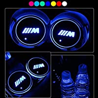 HisAuto 2パックLEDカーカップホルダーライト、USB充電マットを変更する7色の車のロゴコースター、発光カップパッドインテリア雰囲気ランプ装飾ライト (BMW-M)