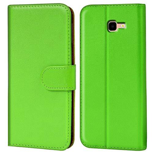 Verco Galaxy J4+ Hülle, Handyhülle für Samsung Galaxy J4 Plus Tasche PU Leder Flip Hülle Brieftasche [6 Zoll] - Grün