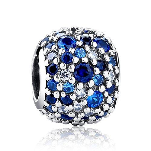 NINGAN Abalorio brillante de plata de ley 925 con circonia cúbica multicolor para pulseras y otras pulseras de abalorios europeas (azul)
