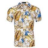 Camisas para Hombres, Camisa Casual de algodón Elegante de Manga Corta para Hombres con patrón Brillante, Camisetas de Playa para Hombres, Finas y Transpirables