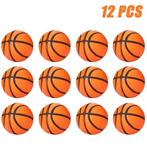 Finduat 12 Pack Mini Sports Stress Basketball, Foam Squeeze Sports Ball for School Carnival Reward, Kids Birthday Party Favors Toy, Party Bag Gift Fillers