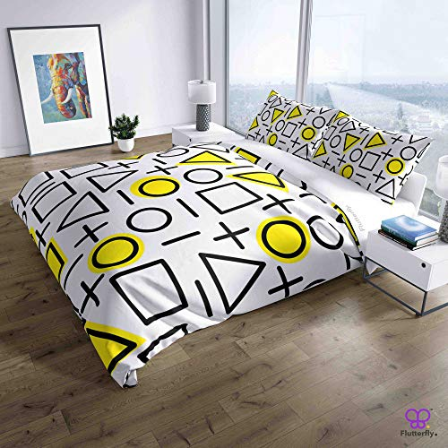 Flutterfly duvet cover king size superk duvet cover queen superk bedding set bed set queen housse de couette superking Neo Memphis Pattern - White (82-1113) design