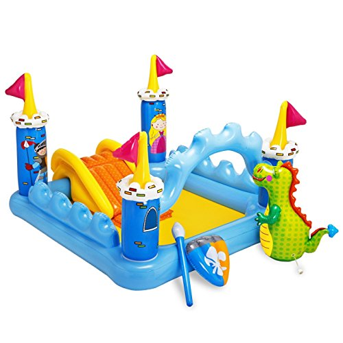 Intex Kids Inflatable Backyard Fantasy Castle Water Slide Play Park Pool Center