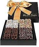 Hazel & Creme Chocolate Mini Pretzel Gift Basket- Gift Box - Gourmet Holiday Food Gift (Large Box)