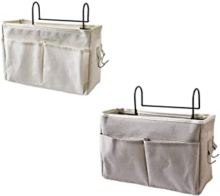 Bed Hanging Storage Bag, 2 Fabric Portable Double-Layer Memory Bags, Metal Hooks, Off-White Save Space, for Office Family ...