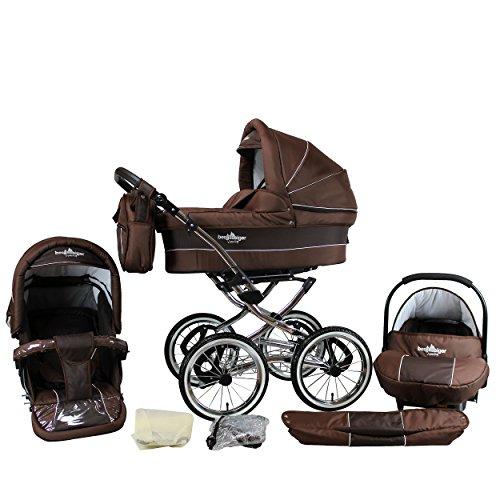 Bergsteiger Venedig Nostalgie Kinderwagen 3 in 1 Retro Kombikinderwagen Megaset 10 teilig inkl. Babyschale, Babywanne, Sportwagen und Zubehör (chocolate)