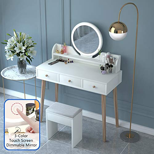 Lowest Prices! PeiQiH Vanity Table Set with Round Mirror,Adjustable Brightness,Touch Screen Dimming ...