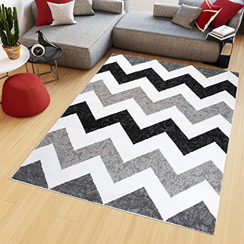 Tapiso Maya Alfombra de Salón Sala Diseño Moderno Gris Blanco Negro Geométrico Zigzag Delgada 160 x 220 cm