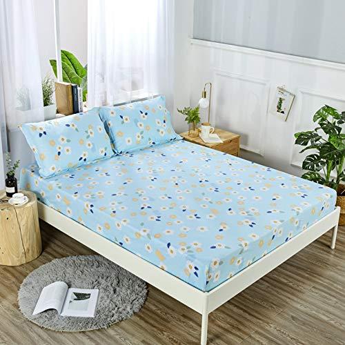 HAIBA Algodón puro Super suave calidad de hotel profundo sábana bajera ajustable, azul, hoja 160x230cm