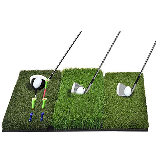 DURARANGE Golf Hitting Mat Large, Turf Grass 3-in-1 Collapsible Chipping Mat with Tees, Launch Pad for Backyard, Practice Putting Green Training Aids, Indoor | Outdoor