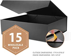 PACKHOME Wholesale Extra Large Gift Boxes with Lids Rectangular 17x14.5x5.5 Inches, Gift Boxes for Clothes and Large Gifts (Matte Black with Embossing, 15 Boxes)