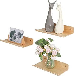 Voglee Floating Wall Mounted Shelves, Set of 3 Wood Display Ledge Shelves for Bedroom Office Kitchen Living Room, Modern Storage Hanging Wall Shelves (11.8