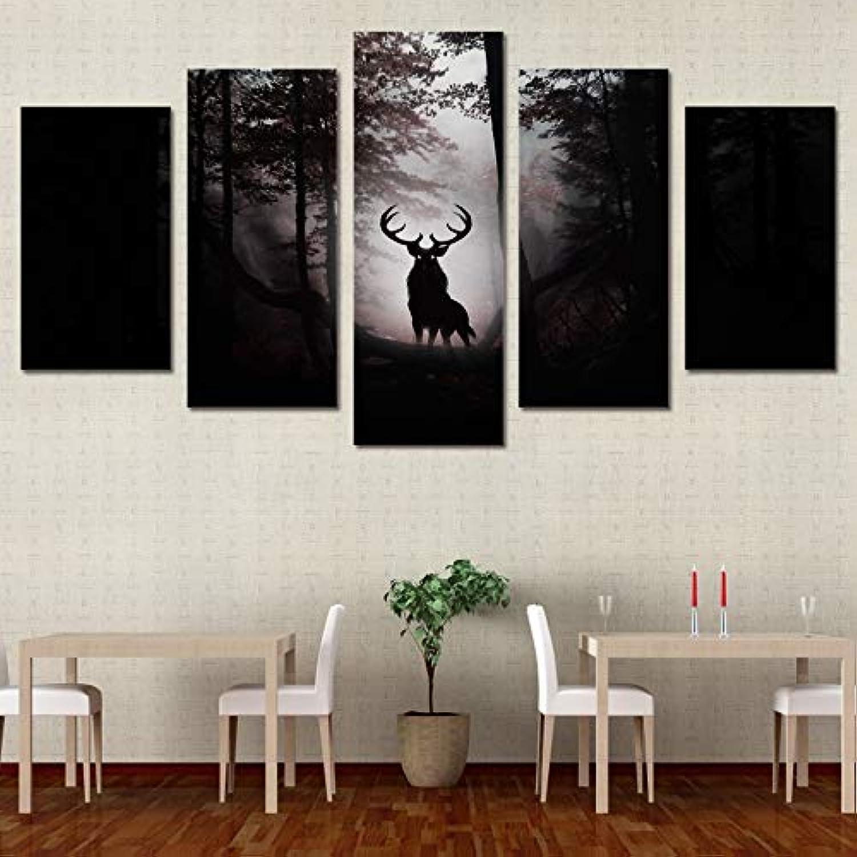 descuento de ventas Decoración Decoración Decoración del hogar Carteles de la Sala de Estar 5 Unidades Pcs Bosque Animal Deer Pintura Moderna en la Lona Wall Art Pictures HD Impreso  comprar ahora