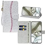JZ [Sequins Funda For para Samsung Galaxy S10 Plus / S10+ Glitter Bling Protective Wallet Flip Cover with [Wrist Strap] - Silvery