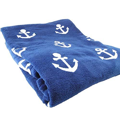 osters muschel-sammler-shop Maritime Wohndecke ┼ Ankermotiv ┼ Weiss mit blau oder blau mit Weiss ┼ Komfortgröße 150x200cm (blau mit weissen Ankern)