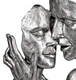 Formano Deko Figur Büste Paar Silber auf weißem Sockel Elegante Skulptur und Wohnzimmer Dekoration (32 cm) - 2